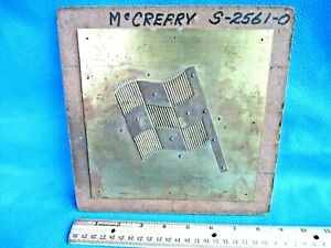 Vtg Pantograph Template Advertising Mccreary Racing Tires Flag Brass Sign Cc4