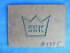 Vintage Pantograph Template Advertising Oil Gas Tire Brass Sign Ssk Crown Cc4
