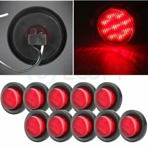 10x 2 Inch Red Rv Trailer Lamp 9 Led Round Side Marker Clearance Light