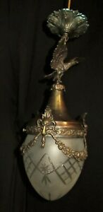 Antique French Eagle Cast Bronze Crystal Shade Chandelier Pendant Fixture
