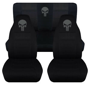 Front Rear Car Seat Covers Blk W Charcoal Punisher Fits Wrangler Yj Tj Lj