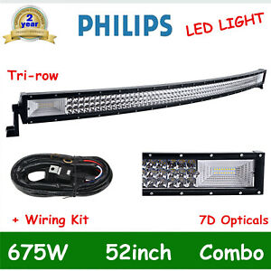52 Inch Led Light Bar 300w Spot Flood Curved Off Road Driving Fog Lamp Wiring