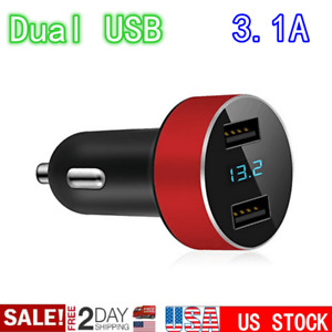 Dual Usb 2 Ports 3 1a Car Cigarette Charger Lighter Digital Led Voltmeter Usa Aa