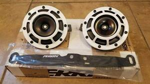 Pair Hella Supertone Horns With Perrin Mounting Bracket 02 07 Wrx Sti White