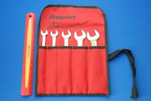 New Snap on 5 Pc Sae 15 Offset Low Torque Slimline Open End Wrench Set Lta805k