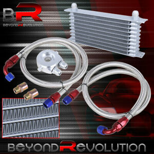 9 Row An10 10an Engine Transmission Oil Cooler Kit Silver Filter Relocation
