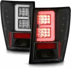 Fit 07 10 Jeep Grand Cherokee Black Led Tube Style Tail Lights Brake Lamps V2