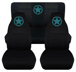 Front Rear Car Seat Covers Black W Teal Army Star Fits Jeep Wrangler Yj Tj Lj