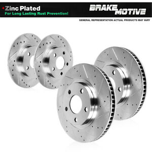 For 2013 2018 Ford Focus St Front Rear Drilled Slotted Brake Rotors