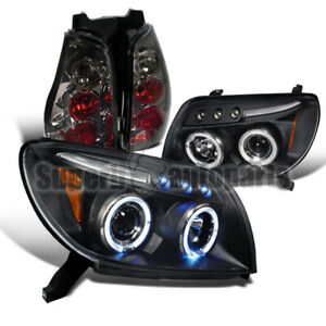For 2003 2005 Toyota 4runner Led Halo Projector Headlights smoke Tail Lights