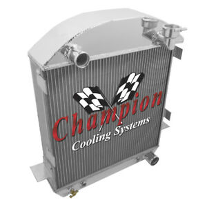 4 Row Rel Champion Radiator For 1917 1927 Ford T Bucket Chevy Configuration