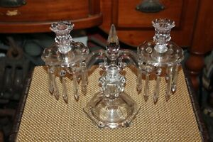 Antique Victorian Glass Double Arm Candelabra Candlestick Holder 2 Crystals