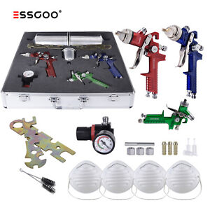 Essgoo 3 Hvlp Auto Paint Air Spray Gun Kit Detail Basecoat Car Primer Clearcoat