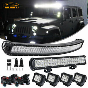 For Jeep Cherokee Xj Curved Led Light Bar 4 Fog 22 Lamp Combo Kit Offroad 50