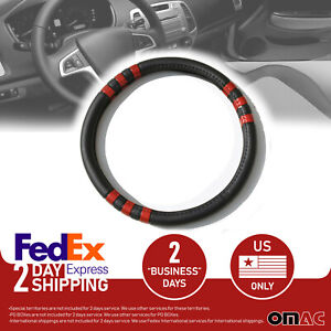 Black Leather Red Stripe Car Steering Wheel Cover For Fiat