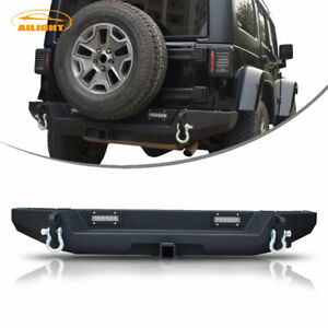 Textured Front Bumper W Led Light Work Ring For 07 18 Jeep Wrangler Jk Unlimited