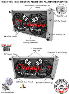 4 Row Rel Champion Radiator 26 2 12 Fans For 1978 1987 Chevy Monte Carlo
