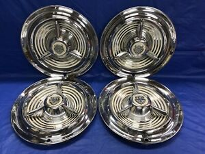 Vintage Set Of 4 1953 55 Oldsmobile Deluxe 15 Spinner Hubcaps 88 98 Good Cond
