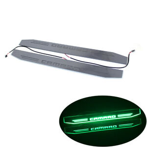2x Car Door Sill Scuff Green Led Moving Light Welcome Pedal For Chevrolet Camaro
