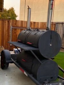 Large Custom Built Bbq Smoker Grill On Single Axle Trailer