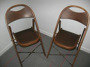 2 Antique Hercules Fort Massac Folding Deck Chair Wood Pad Chair Bentwood Style