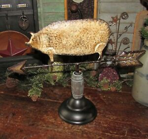 Primitive Antique Vtg Style Country Farm Metal Pig Hog Tin Weather Vane