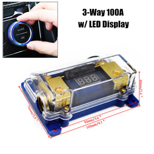 100a Led Display Car Audio Distribution Fuse Block Stereo Power Fuses Holder Box