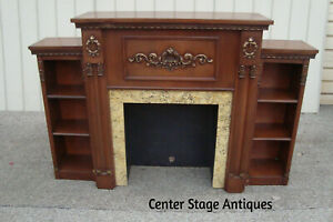 60623 Mahogany Carved Fireplace Mantle W Bookcase Sides