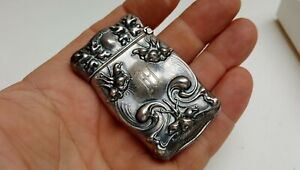 Old Vtg Antique Victorian Art Nouveau Knights Sterling Silver Fcb Match Safe