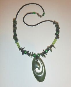 Vintage Chinese Carved Jade Pendant Necklace