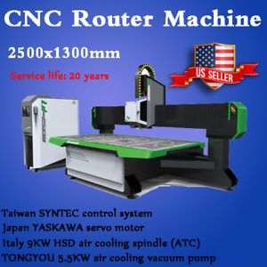 98 x51 Cnc Router Engraving Cutting Machine Italy 9kw Spindle Vacuum System