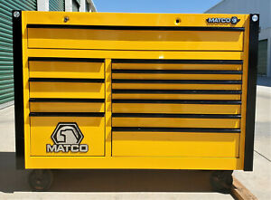 Matco Tools Yellow Heavy Duty Rolling Cabinet 12 Drawer Tool Box 57 Wx44 Hx25 D