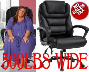 500lb Wide Oversized Leather Computer Office Heavy Duty Big And Tall Desk Chair