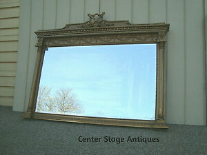 60194 Antique Victorian Guilt Fireplace Mantle Beveled Mirror Quality