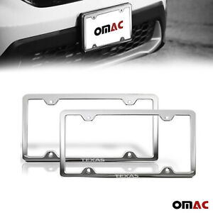 Texas Print License Plate Frame Chrome S Steel 2 Pcs For Toyota Corolla