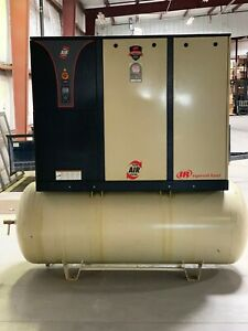 Used Ingersoll Rand Rotary Compressor 25hp 240 Gallon Tank 380 460v 3 Phase