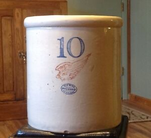 Antique Vintage 10 Gallon Red Wing Union Stoneware Crock 6 Wing Block Numbers