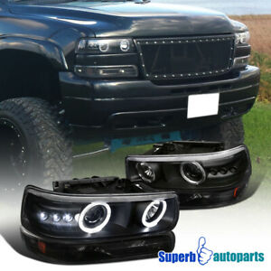 For 1999 2002 Chevy Silverado Dual Led Halo Headlights bumper Lamps Black Tahoe