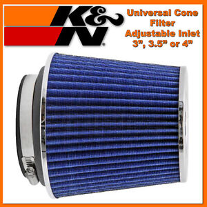K n 3 To 4 Universal Air Intake Cone Filter Chrome Truck Suv Car Round Blue