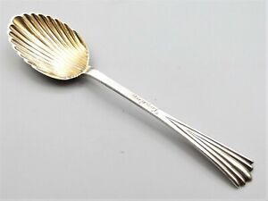 Antique Victorian Sterling Silver Shell Spoon Gold Wash Bowl 1888 London