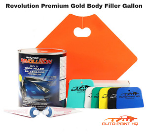 Premium Gold Body Filler Gallon Extra Hardener Spreaders And Mixing Pallet