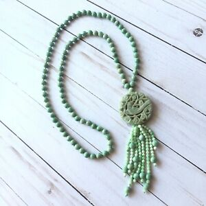 Antique Jade Necklace Carved Bird Medallion 36 Beaded Chain Rare Green Asian