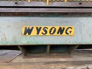 Wysong Hydraulic Metal Shear 14 X 1 4 Mechanical Back Gauge Wysong Metal Shear