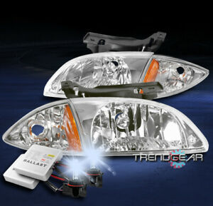 For 2000 2001 2002 Chevy Cavalier Replacement Headlights Lamp W 8000k Hid Chrome