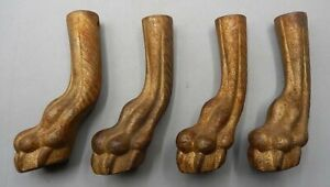 4 19th Century Cast Iron Claw Feet From Furniture Stand Or Table Uncommon