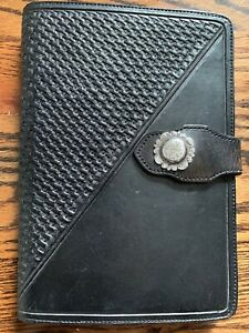Vogt Silversmiths Agenda Day Planner Hand Tooled Leather Sterling Silver Black