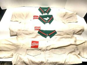 3) VINTAGE COCA COLA EMPLOYEE DRIVER DELIVERY UNIFORM SHIRT 16-16 1/2