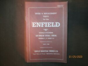 Enfield 85 Single Cyl Air cooled Diesel Engine Parts List Manual Original 1961