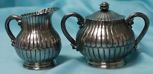 Antique Sanborns Mexico Sterling Silver Owl Hallmark Creamer Sugar Bowl Set