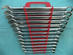Large Snap On Sae 12 Point Combo Wrench Set Oex 3 8 1 1 8 13 Pc W Rack Nice